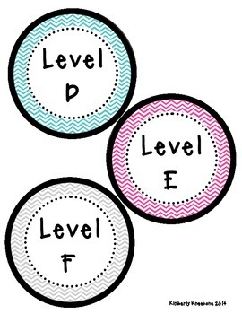 Reading Leveled Library Labels (A-Z) - Turquoise, Pink, and Gray Chevron