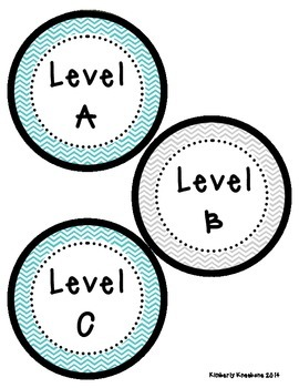 Reading Leveled Library Labels (A-Z) - Turquoise and Gray Chevron