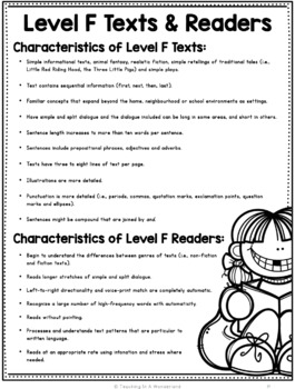 Reading Levels: Reader and Text Characteristic Packet