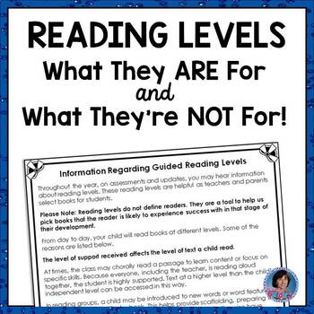 Parent Handout: What Guided Reading Levels ARE For and What They're NOT For