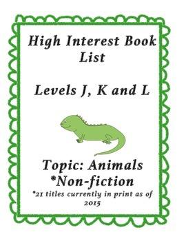 Reading List: High Interest Animal Books - J, K and L