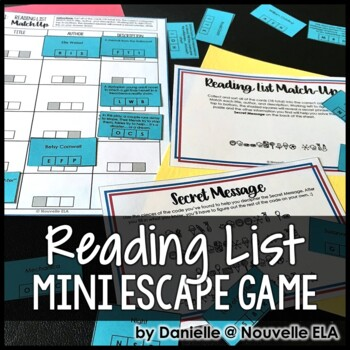 Reading List Match-Up Mini Escape Game (Editable for Most Subject Areas)