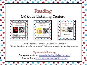 Reading / Listening Centers QR Code Cards - Color Theme
