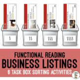 Reading Listings - Finding The Right Businesses - Life Skills Task Bin Sorting