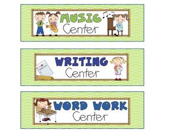 Reading Literacy Center Signs Green Cheveron