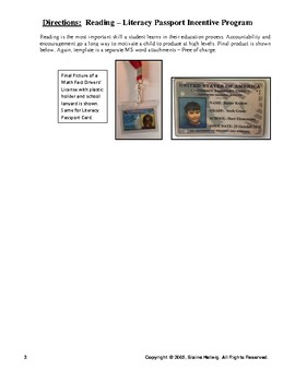Reading - Literacy Passport Card Incentive License DIRECTIONS - FREE
