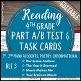 Reading Part A Part B Test, Task Cards RLI 3- 1st and 2nd Hand Account, Poem