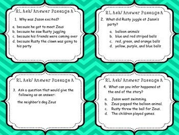 Reading Literature - Ask and Answer Questions Task Cards {Common Core}
