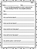 Reading Literature Assessments Common Core 2nd Grade RL 1- RL 10
