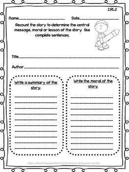 Reading Literature Assessments Common Core 2nd Grade Rl 1 Rl 10