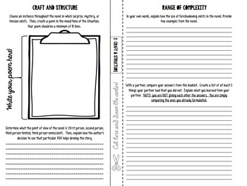 Reading Literature: Common Core Booklet for ANY Novel or Short Story