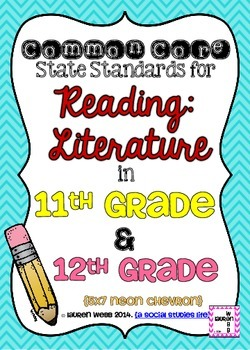 11th and 12th grade ELA Reading Literature Common Core Standards Posters