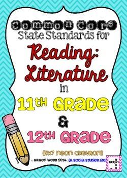 11th and 12th grade ELA Reading Literature Common Core Sta