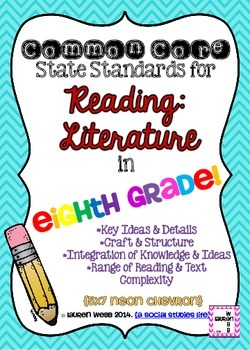 8th grade ELA Reading Literature Common Core Standards Posters