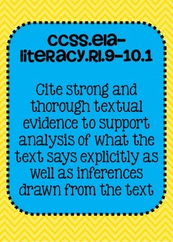 9th and 10th grade ELA Reading Literature Common Core Standards Posters