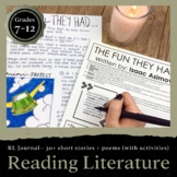 Reading Literature Journal for Grades 6-8: Activities for Short Stories & Poems