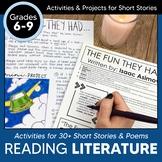 Reading Comprehension Passages Grades 6-8 Activities for Short Stories + DIGITAL