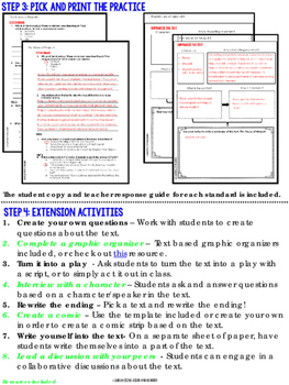 Reading Literature Middle Grades Activities – Common Core Aligned