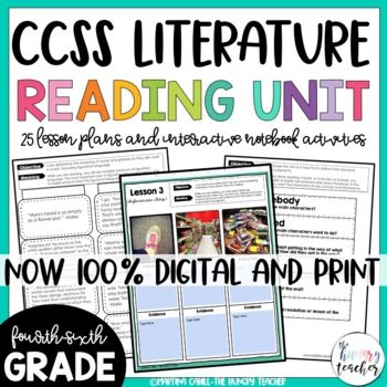Reading Literature Unit  (4th 5th and 6th CCSS)