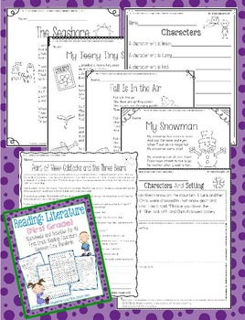 Reading: Literature Worksheets/Activities - First Grade Common Core