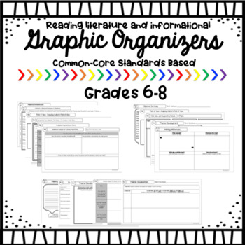 Reading Literature and Informational Graphic Organizers Grades 6-8