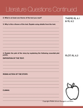 Reading Literature for the Common Core: Text Questioning & Analysis Packet