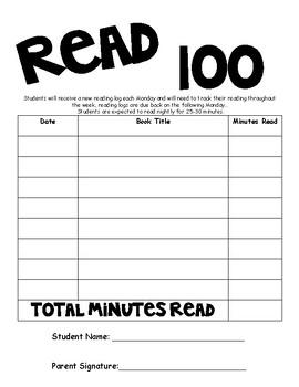 Read 100 reading log