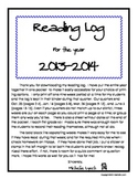 Reading Log 2013 2014 for the year