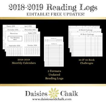 EDITABLE 2018-2019 Reading Log Bundle