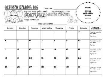 Reading Log 2015 - 2016 Monthly Calendars