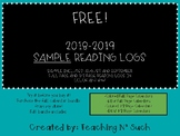 Reading Log 2018-2019 FREE SAMPLE