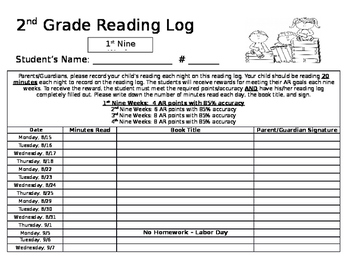 Reading Log - EDITABLE