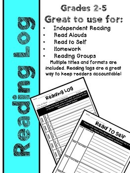 Reading Logs for Independent Reading, Homework, Read to Self, or Reading Groups