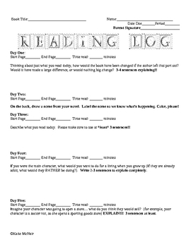 Reading Log #8 - Weekly Homework