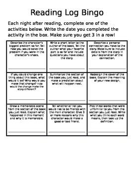 Reading Log Bingo- Word