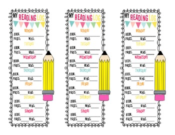 Reading Log / Book Log Bookmark With Weekends!!