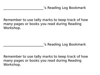 Reading Log Book Mark