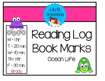 Reading Log Book Marks - Ocean Life
