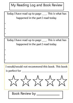 Reading Log + Book Review Template