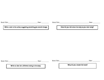 Reading Log Booklet for SSR, Independent Reading, or Literature Circles