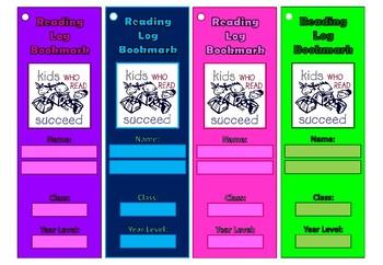 Reading Log Bookmarks