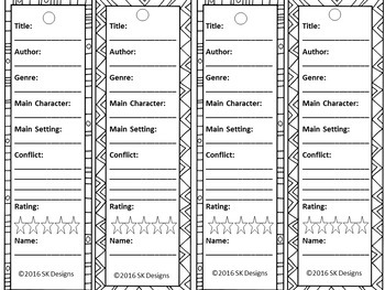 Reading Log Bookmarks with Elements of Fiction Project Printable Reading Record