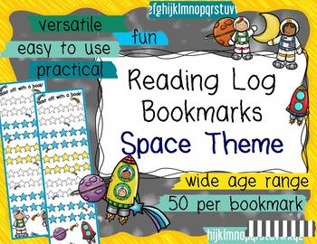 Reading Log Bookmarks - Space Theme