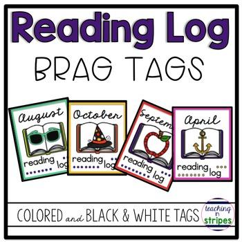 Reading Log Brag Tags- Homework Incentive!