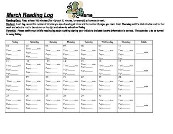 Reading Log Calendar (March)