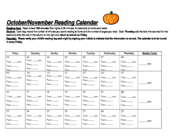 Reading Log Calendar (October)