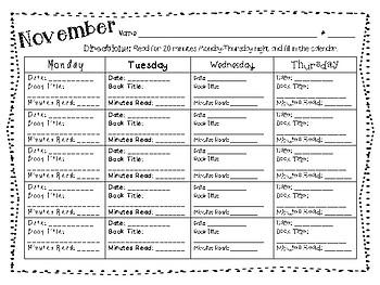 Reading Log Calendars