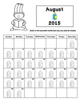 Reading Log Calendars Aug. 2015- June 2016