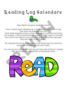 Reading Log Calendars Aug. 2016- Aug. 2017
