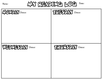 Reading Log Choice Board